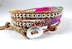 Triple herringbone wrap neon multicolor/zilver