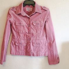 Stretch Corduroy Jacket Cute dust rose pink corduroy jacket, pockets, junior size, Preloved(used), great with jeans. Jackets & Coats