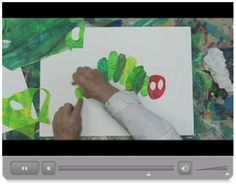 Eric Carle-shows art process with The Hungry Caterpillar. Can't wait to make collages with my kids!