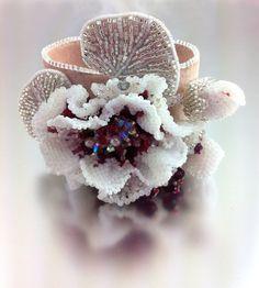 Creme de Cassis Flower - Beaded Bracelet Cuff