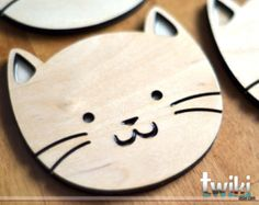 Cat or Dog Laser Cut and Etched on Wood от StylineDesigns на Etsy
