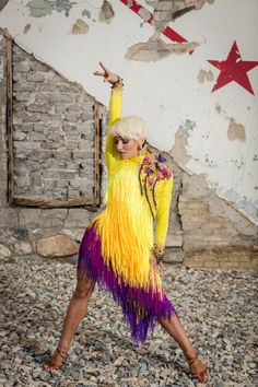Yellow Fringe Latin Ballroom Dance Dress