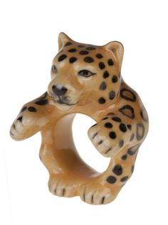 Hand painted porcelain leopard ring.   Available in two sizes: S/M (17.5mm) & M/L (18.5mm) and supplied in its own gift box.