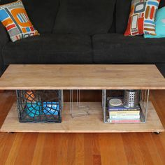 DIY: metal milk crate coffee table - love this - paint the wood or leave for a very lofty industrial look....