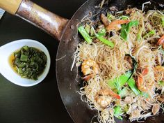 Fried Bee Hoon (Singapore Noodles) Recipe Main Dishes with chiles, boiling water, rice vinegar, soy sauce, sugar, kosher salt, vegetable oil, shallots, garlic, shiitake, baby bok choy, medium shrimp, rice vermicelli, white pepper, beansprouts