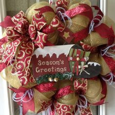 """Christmas 24"""" burgundy and gold deco mesh wreath with wooden Christmas mailbox and movable flag."""