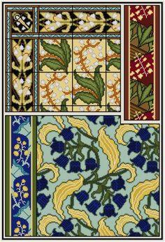 Lily of the Valley Cross stitch pattern PDF / Maurice Verneuil / Art Nouveau cross stitch Floral pattern