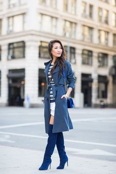 Layered Blue :: Pleated shirtdress & Soft trench