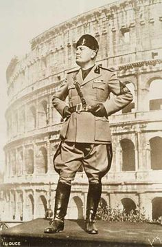 Benito Mussolini in front of the Colosseum. Italian Army, The Third Reich, World History, World War Two, Wwii, Ducati, Military, Legends, Germany