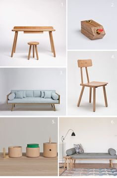 {1. Desk One 2. Candlesticks by Simon Donald 3. Sofa One 4. Another Chair 5. Another Desktop Series 6. Day Bed} I must admit I have a soft spot for wooden products, if you do too Another Country is the...