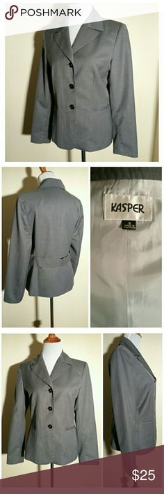 """Kasper Solid Grey Blazer 6 This essential Kasper grey blazer has a three button front closure, two front pockets, and a partial back faux belt. It is made of 99% polyester and 1% viscose rayon. It is fully lined in 100% polyester.  The measurements across are: shoulder to shoulder 15 3/4"""", bust 19"""", waist 16 1/4"""". The length is 25 3/4"""" & the arm length is 24"""".  🛍 Bundle and Save More! Kasper Jackets & Coats Blazers"""