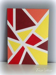 Décoration facile à réaliser - Aglaé - Masking tape et peinture sur une toile.