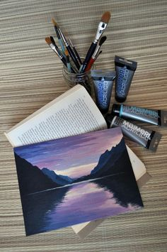Acrylic painting sunset mountain landscape sunset in the mountains acrylic painting mountain lake wall art mural home accessories original painting Merys Stores Art Mural Photo, Mural Wall Art, Beginner Painting, Diy Painting, Lake Painting, Gouache Painting, Moon Painting, Painting & Drawing, Art Mini Toile