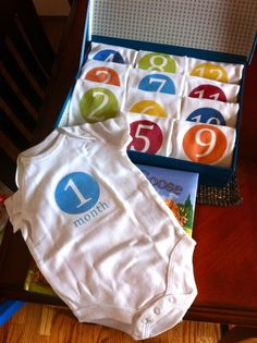 Awesome baby shower idea! A onesie for every month to take a picture! Yes! Tutorial for making them with iron-on transfer paper. Gifts for baby showers #babyshowergifts