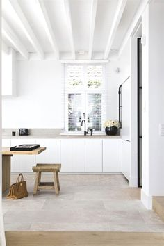 painted white beamed ceiling in minimalist modern kitchen