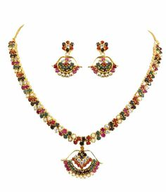 Goldencollections Navratan Necklace Set! #necklaceset