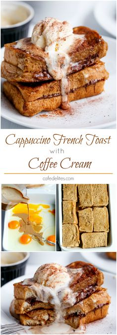 Cappuccino Chocolate French Toast with Coffee Cream.my kind of french toast! Köstliche Desserts, Best Dessert Recipes, Coffee Recipes, Delicious Desserts, Yummy Food, Tasty, Chocolate French Toast, Cake Chocolate, Chocolate Coffee