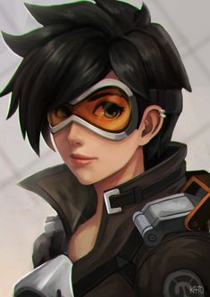 Anime picture with overwatch tracer (overwatch) kato-artist single tall image short hair looking at viewer black hair simple background brown eyes signed light smile upper body portrait piercing spiked hair ear piercing girl goggles Overwatch Tracer, Overwatch Comic, Overwatch Memes, Video Game Art, Video Games, Tracer Fanart, Game Character, Playstation, Portrait