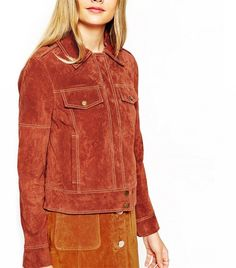 ASOS Western Suede Jacket With Stitch Details