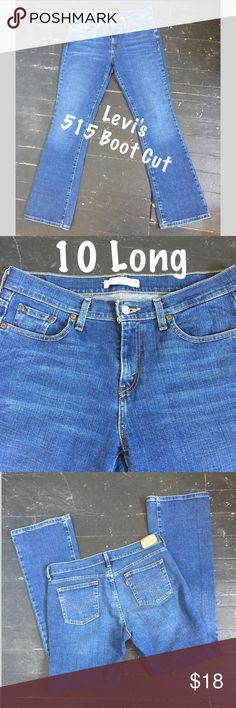 """Levi's 515 Boot Cut Jeans #206 Levi's 515 Boot Cut Jeans. Size 10 Long. Waist 34"""" Rise 10"""" Inseam 33"""" Flare 9"""". All orders are shipped same or next business day.  Bundle to save even more money! Levi's Jeans Boot Cut"""