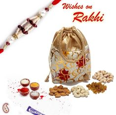 Picture of Floral print Leatherite Dry fruit pouch with Rakhi