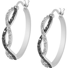 Jewel Exclusive Sterling Silver Black & White Infinity Hoop Earrings (515 SEK) ❤ liked on Polyvore