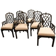 Set of Six or 10 Chinese Chippendale Dining Arm Chairs Pagoda Hollwood Regency  | From a unique collection of antique and modern armchairs at https://www.1stdibs.com/furniture/seating/armchairs/