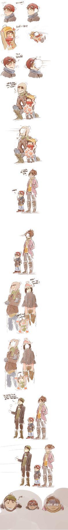 Eren x Mikasa & Levi x Hanji with their kids