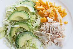 Healthy Dinner Recipe: Shredded Lettuce, Sliced Turkey, Avocado and Cheese Salad