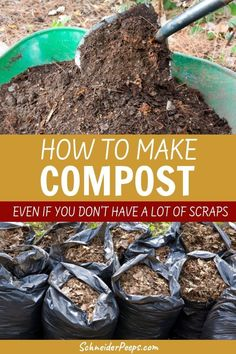 Compost is the black gold of the vegetable garden but it can be expensive to buy. Learn how to make a lot of compost even if you dont have many kitchen scraps or raise chickens or other livestock. I use this technique every fall and winter to make compost for the spring garden. Get started making compost for free today!  #GardeningIdeas #GardeningTips #Homesteading