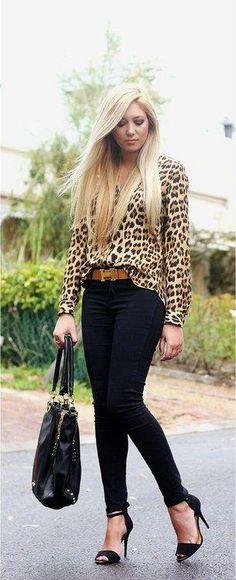 Cute outfit, but I would change the leopard print shirt. Fashion Mode, Look Fashion, Fashion Outfits, Womens Fashion, Fashion Trends, Fall Fashion, Jeans Fashion, Fashion Black, Curvy Fashion
