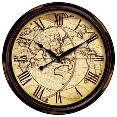 "Nautical Distressed Map 24"" Wide Wall Clock - traditional - clocks - Lamps Plus"