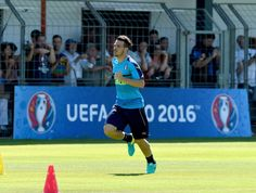 """Alessandro Florenzi of Italy in action during the training session at """"Bernard Gasset"""" Training Center on June 9, 2016 in Montpellier, France."""