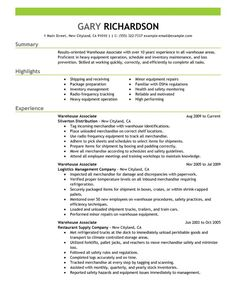 warehouse associate resume sample - Warehouse Associate Resume Sample