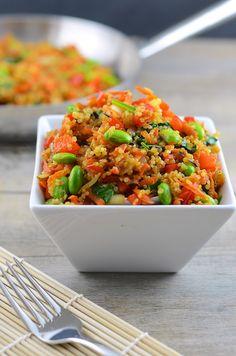 "Looks so good! Quinoa Fried ""Rice"" {Quinoa, Bell Pepper, Onion, Edamame, Carrots, Ginger, GF Tamari} via Girl Makes Food #clean #healthy #takeout"