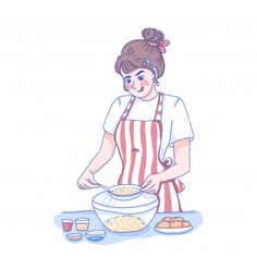 Cook from home Premium Vector Cute Wallpaper Backgrounds, Cute Wallpapers, Comic Character, Character Design, Girl Cooking, Aesthetic Template, Cute Characters, Girl Cartoon, Aesthetic Anime