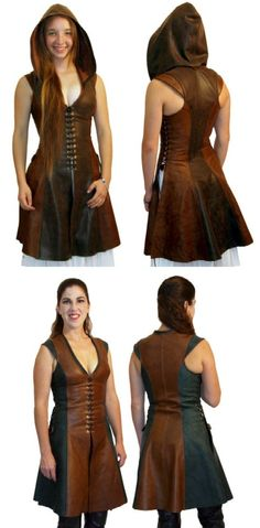 Archers Short Dress from Ravenswood Leather - to die for! Everything at Ravenswood, is just so cool. This is fully custom fitted, has the usual wide range of color & trim options this vendor does so well. Plus an optional hood that comes in pointed & round. Way out of my price range, but dang - a gal can dream! Would <3<3<3 one in Renaissance Brown & Forest Green like shown above, w/ pointed hood. In Renaissance Brown (+10%) & Forest Green for $548.20 See related Saberist version pinned…