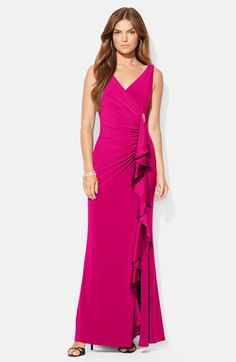 Lauren Ralph Lauren Silk Side Ruffle Jersey Gown available at #Nordstrom