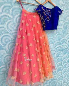 Buy Ravishing Blue-Peach Designer Embroidered Net & Velvet Lehenga Choli at Rs. Get latest Lehenga Kameez at Ethnic Factory. Indian Lehenga, Half Saree Lehenga, Lehnga Dress, Lehenga Blouse, Net Lehenga, Orange Lehenga, Kids Lehenga Choli, Lehenga Choli Designs, Frock Design