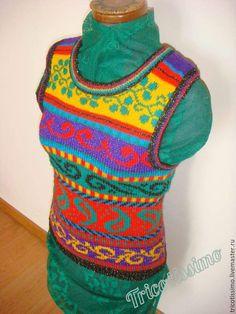 Купить Жилет Попурри, ручное вязание - комбинированный, орнамент, жаккард, хенд мейд, hand made