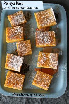 papaya bars--Gluten free and honey sweetened.  Delicious!!