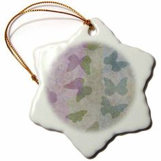 3dRose Inspired Butterflies Art - Pinks and Greens - Nature, Snowflake Ornament, Porcelain, 3-inch