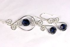 Dark Blue Swarovski Earrings Wire Wrapped by JessicaLuuJewelry
