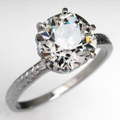 2.77+Carat+Old+European+Cut+Diamond+Engagement+Ring+Crown+Head+18K+White+Gold