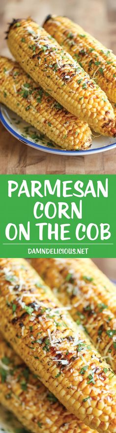 Parmesan Corn on the Cob - So buttery, garlicky and loaded with Parmesan cheese goodness - grilled (or roasted) to absolute perfection! using vegan part and butter Corn Recipes, Side Dish Recipes, Vegetable Recipes, Great Recipes, Vegetarian Recipes, Favorite Recipes, Healthy Recipes, Healthy Cooking, I Love Food