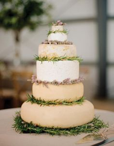 Cheese Wheel Cake | 10 Wedding Ideas You've Never Seen Before | https://www.theknot.com/content/ideas-youve-never-seen-before