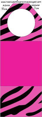 LARGE PRINTABLE SET- Zebra Pink Fundo Limpo – Kit Completo com molduras para convites, rótulos para guloseimas, lembrancinhas e imagens!   Fazendo a Nossa Festa