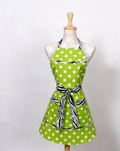 Lime and Zebra Apron Black and White Zebra trim by apronqueen, $30.95