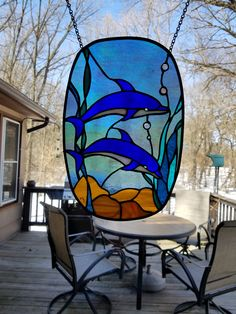 Stained glass by MaryBethstainedglass Sun Catchers, Stained Glass Birds, Glass Animals, Black Jewelry, Dark Teal, Dolphins, Etsy, Glass Ornaments, Mosaics