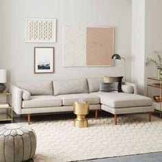 Monroe Mid-Century 2-Piece Chaise Sectional - Platinum (Linen Weave) $2698